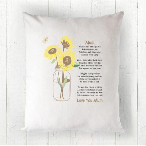 Personalised For Mum Sunflower Poem Cushion